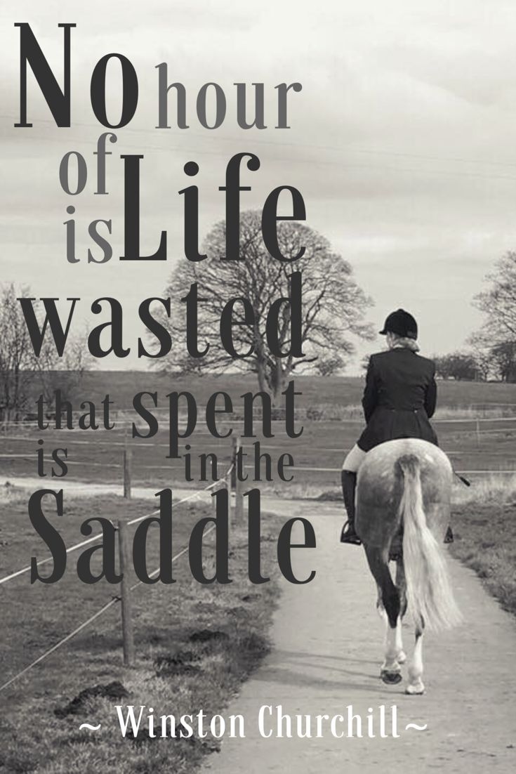"""No hour of life is wasted that is spent in the saddle"" - Winston Churchill 