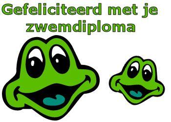 leuke zwemdiploma tekst plaatjes: lieve kikkertjes voor je zwemdiploma op Feest-Plaatjes.nl