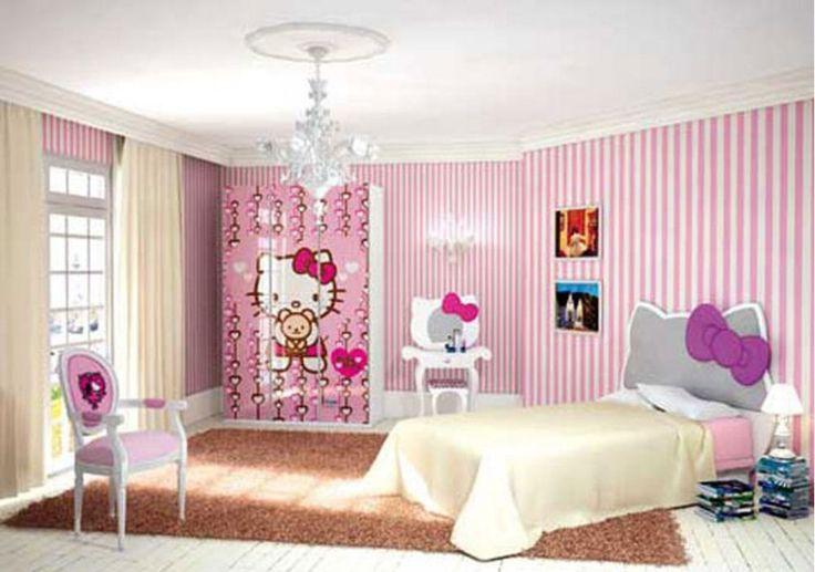 Ayolah, siapa yang bisa menolak kucing merah dan putih menggemaskan ini, juga sebagai dekorasi untuk desain kamar tidur hello kitty di rumah.