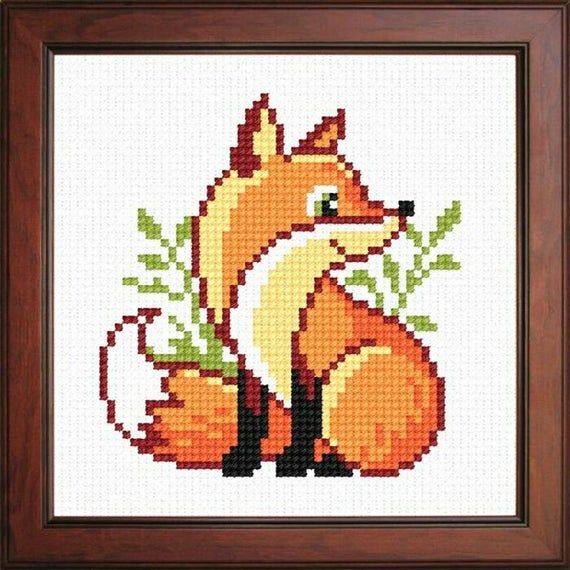 cross stitch baby forest tree sun a good mood pleased fox cross stitch pattern Fox with a colored tail