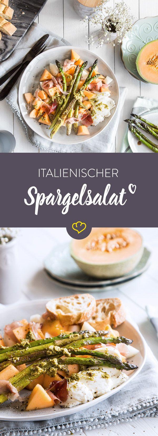 Mit Melone, Schinken, Mozzarella und grünem Pesto wird gebratener Spargel zur köstlichen Vorspeise, die dir ein Stück Italien auf den Teller zaubert.