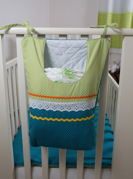 Large Nappy Bag, Hanging Diaper Bag, Diaper Stacker, Handmade Nappy Stacker - Blue & Green, White Polka Dots Design