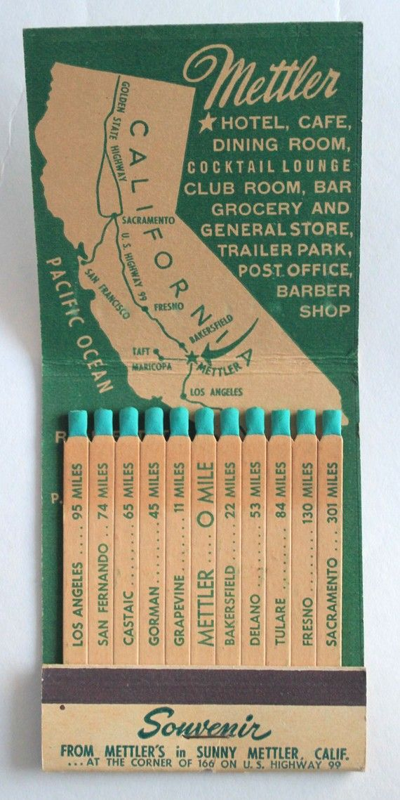 giant feature matchbook souvenir mettler hotel mettler ca