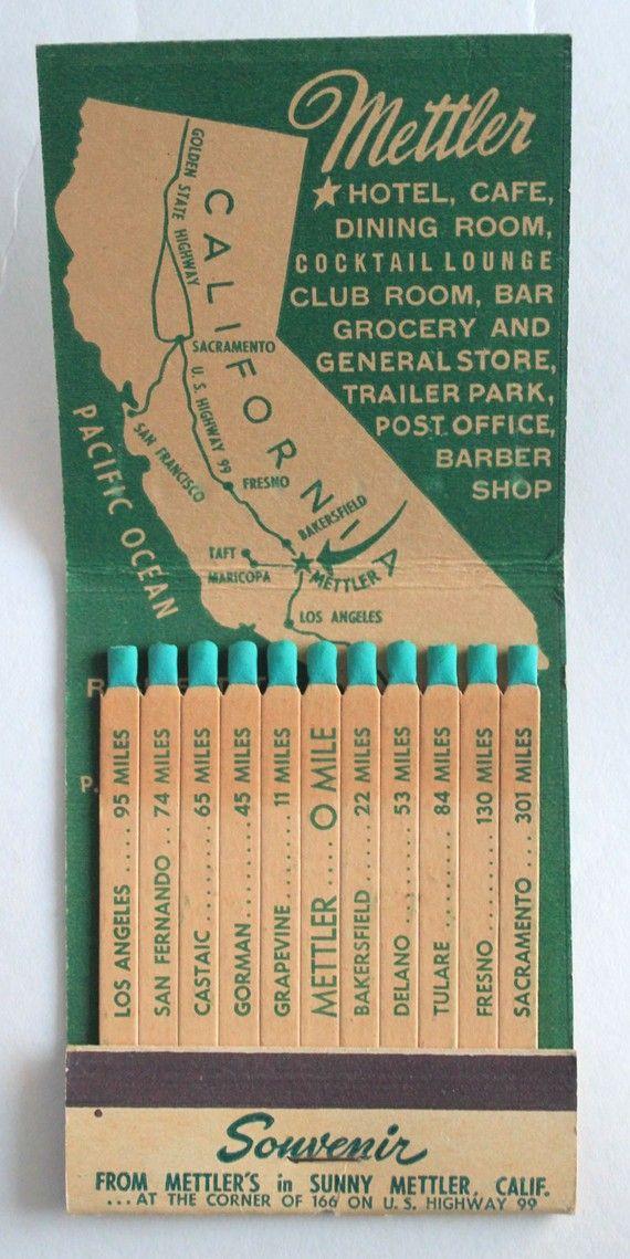 Giant Feature Matchbook Souvenir from Mettler Hotel Mettler CA via albrechtsantiques #Matchbook #CA #Mettler_Hotel #Vintage