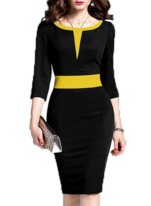 WOOSEA Women's 2/3 Sleeve Colorblock Slim Bodycon Business Pencil Dress (Small, Black+Yellow)