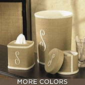 I adore these Linen covered accessories-perfect pieces to go with the burlap shower curtain! I would re-trim with something that has a little more color, pizazz.....an accent color like robin's egg blue, even a chocolate or blackberry. Just something with a little more. I do love that these pieces are just blank canvases, and would fit in just about anywhere you wanted to put them.  Linen covered bathroom accessories   www.ballarddesigns.com