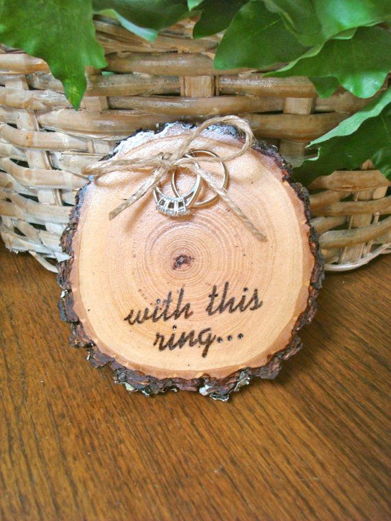 Rustic Wood Wedding Ring Holder Pillow Wood Burned With This Ring