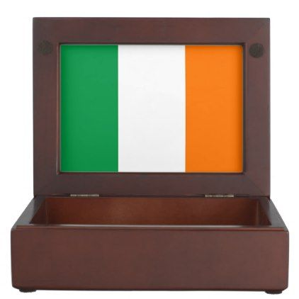 Wooden keepsake box with flag of Ireland - trendy gifts cool gift ideas customize