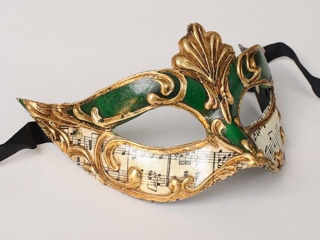 Masked ball mask, green. - Masquerade masks