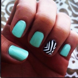 Teal, black, and white