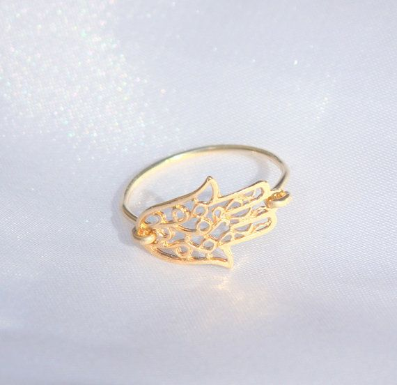 Gold Hamsa Ring - 14k gold filled filigree hamsa ring, gold sideways hamsa ring, evil eye charm, gift for her, charm ring on Etsy, $25.00.