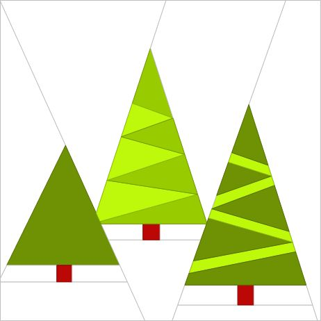 Christmas Trees, A free foundation paper piecing pattern by Under Rainbow, found on Craftsy