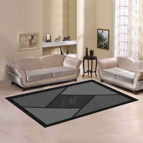 Monogram Geometric Grey Area Rug7'x5' | Available In Shades Of Grey, Blue, Purple, Magenta, Green, & Brown.