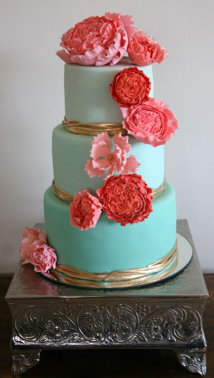 Aqua and Coral Wedding Cake