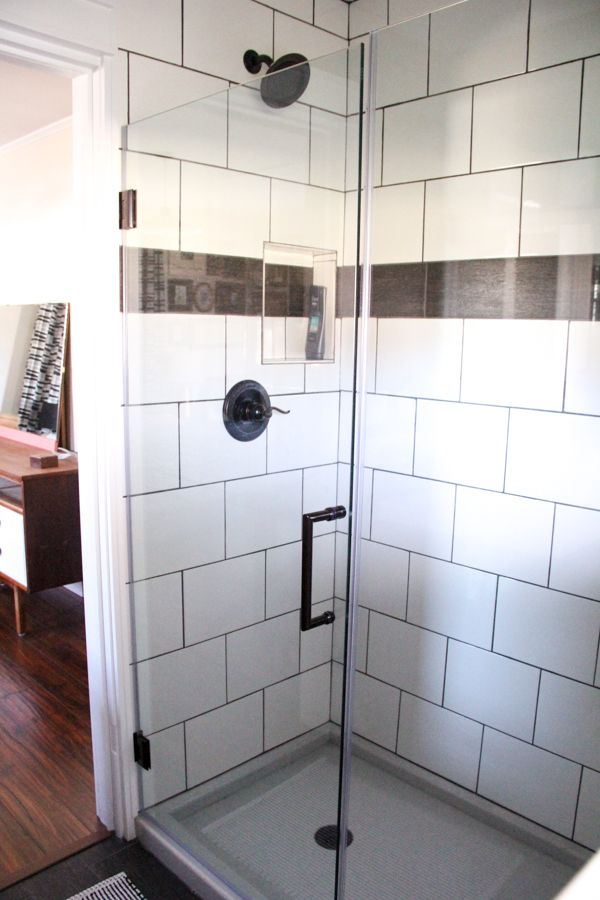 Large White Subway Tile Shower with Black Grout