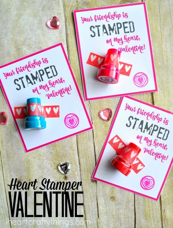 """Heart Stamper Non-Candy Valentine Printable with the saying """"Your friendship is stamped on my heart, Valentine."""" Super cute non-candy valentine for classmates."""