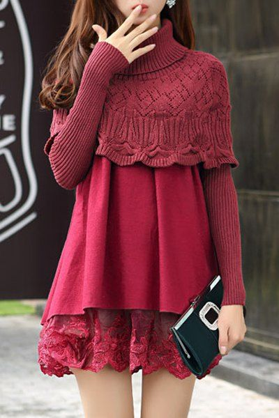 Graceful Turtleneck Long Sleeve Solid Color Knitting and Lace Spliced Dress For Women