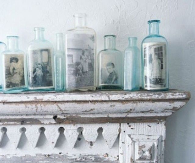 Use Modge Podge to adhere old photos to interesting jars.
