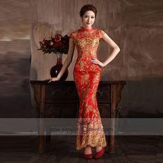Collar Short Sleeve Floor Length Golden Embroidery Cheong Sam