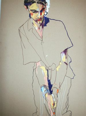 Love the simple line work surrounded by the colorful face....Artist: Howard Tangye