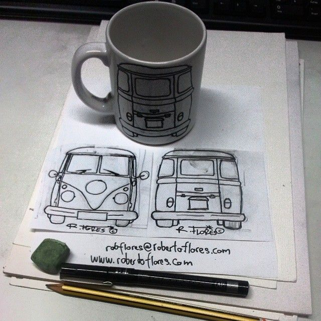 Instagram photo by @Roberto Flores Yoldi via ink361.com The back of same #coffe #mug with #handpainted #cartoon of a #classiccar #vw #kombi T1 #van.