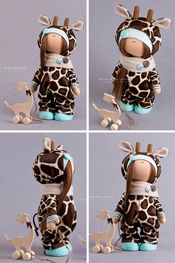 Giraffe doll handmade Tilda doll Interior doll brown color Textile doll Soft…