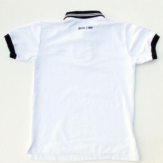 Polera Pique Color Blanco Detalles Bordados Tallas : S - M - L