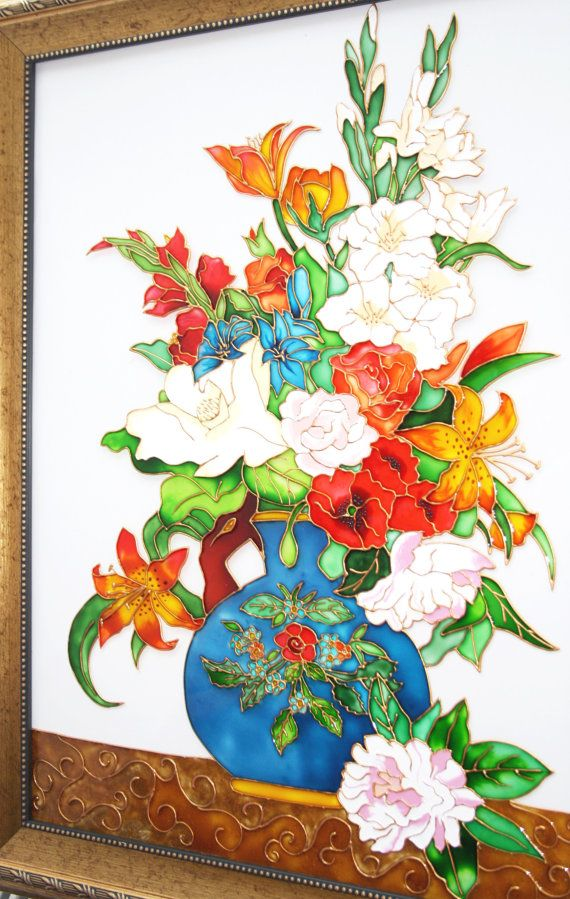 Flowers in the Vase Glass Painting glass art by GlasssMagic