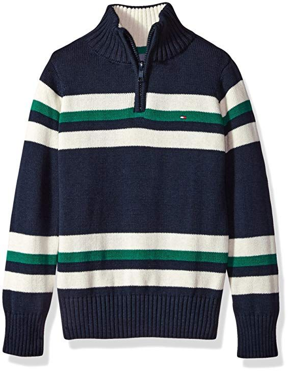 90dd7c7f Tommy Hilfiger Toddler Boys' Long Sleeve Half Zip Pullover Sweater, Leon  Swim Navy, 4T