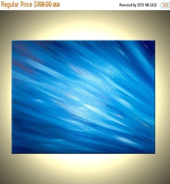Original Abstract Painting Fall Sale! 25% off your ENTIRE PURCHASE. Discount has already been applied. Also, buy two paintings get a third of equal or lesser value FREE.     Original Blue Ocean Rain Painting By Dan Lafferty - RAYS OF BLUE - 24 x 30 - Modern Art  *Please click on each image above to see an enlargement.  Painting Details:  RAYS OF BLUE  - Painted in Blues and Titanium White On a Huge 24 X 30 and 3/4 Deep Gallery Stretched Canvas. - Gallery Size Original Palette Knife Painting…