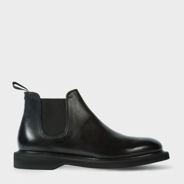 Men's Black Leather 'Searle' Chelsea Boots With Rubber Soles