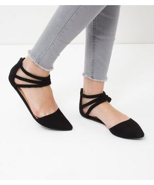 Wide Fit Black Suedette Plaited Strap Pointed Pumps  | New Look