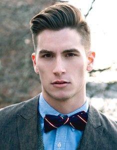 新郎の結婚式で蝶ネクタイをつけた髪型