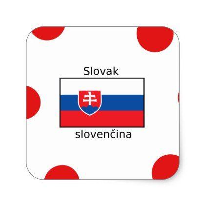 Slovak Language And Slovakia Flag Design Square Sticker - craft supplies diy custom design supply special