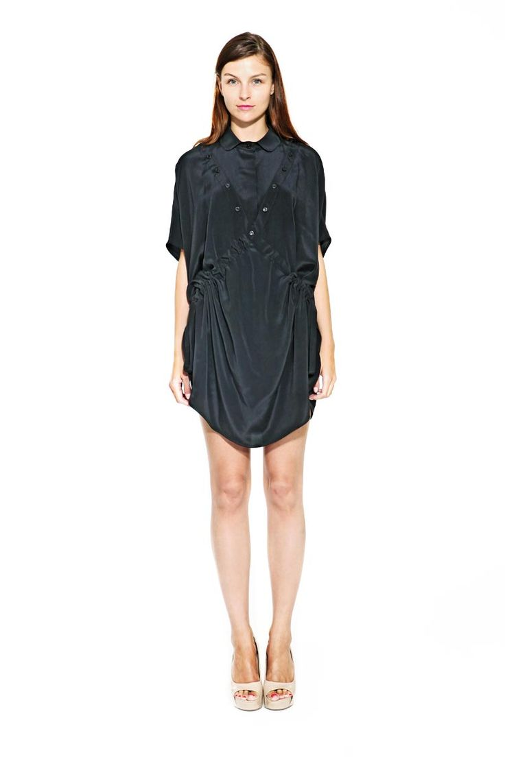 IMRECZEOVA SS17 black silk dress with detachable collar