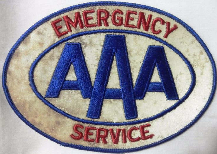 """Vintage Patches - Emergency AAA Services - Length 6 1/4"""" Height 4 1/2"""" - Used"""