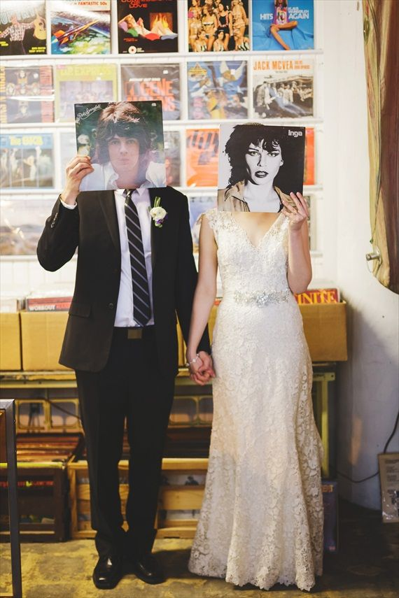 bride and groom - record store | Rachael Schirano Photography - peoria wedding