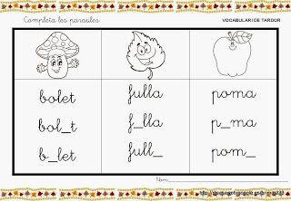 Educació Infantil Brimar: FITXES VOCABULARI TARDOR