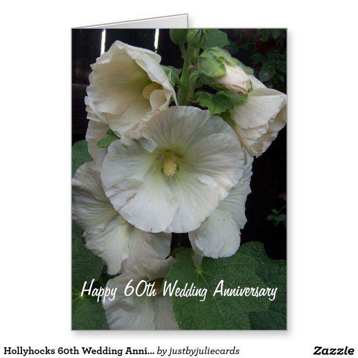 wedding anniversary greeting cardhusband%0A Hollyhocks   th Wedding Anniversary Card