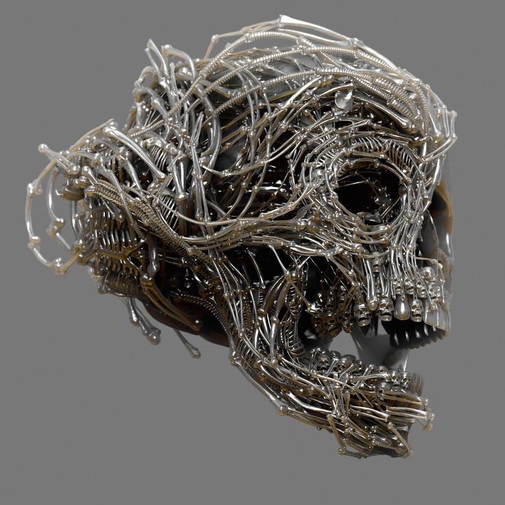 Wire skull by Meats Meier