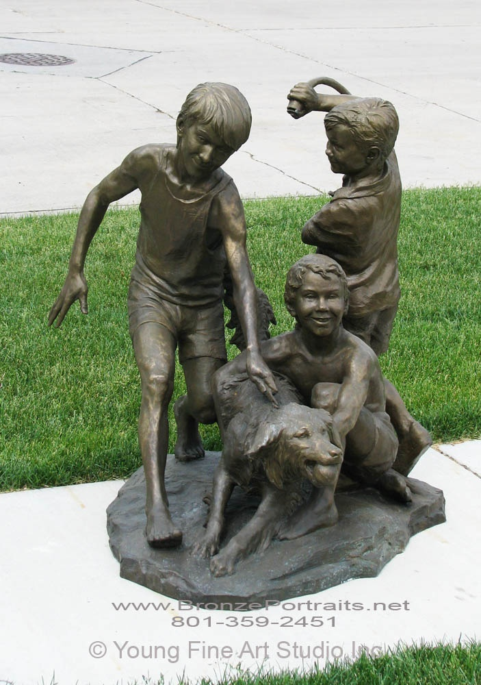 """http://lenatoritch.com/ #Bronze #statue """"Triple Trouble""""  Three boys washing their #dog...how cool is that? This statue can be used as a fountain. The best part-it is for sale :)   Call us for more info (801)359-2451"""