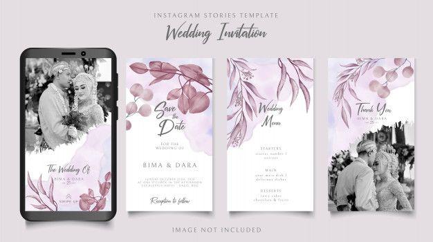 Elegant Wedding Invitation Instagram Stories Template With Floral Frame Background Floral Wedding Invitation Card Elegant Wedding Invitations Vintage Wedding Stationery