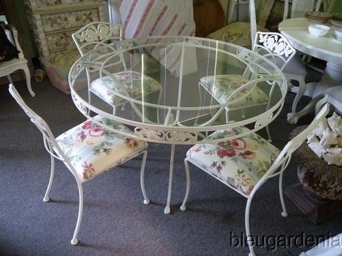 Vintage Wrought Iron Patio Table Chairs Currently Painted Bronze