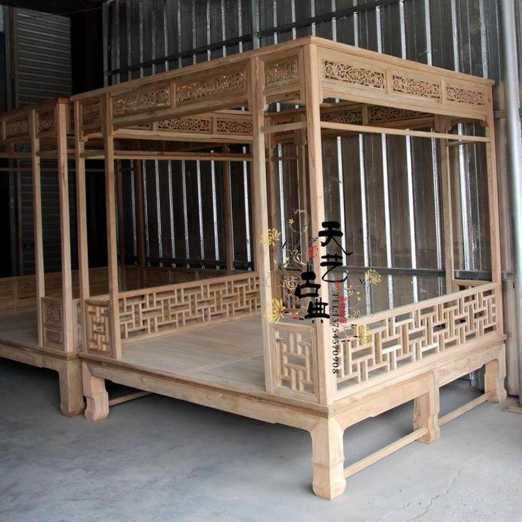 solide orme bois classique ming et qing dynasty lit baldaquin double lit antique chinois. Black Bedroom Furniture Sets. Home Design Ideas
