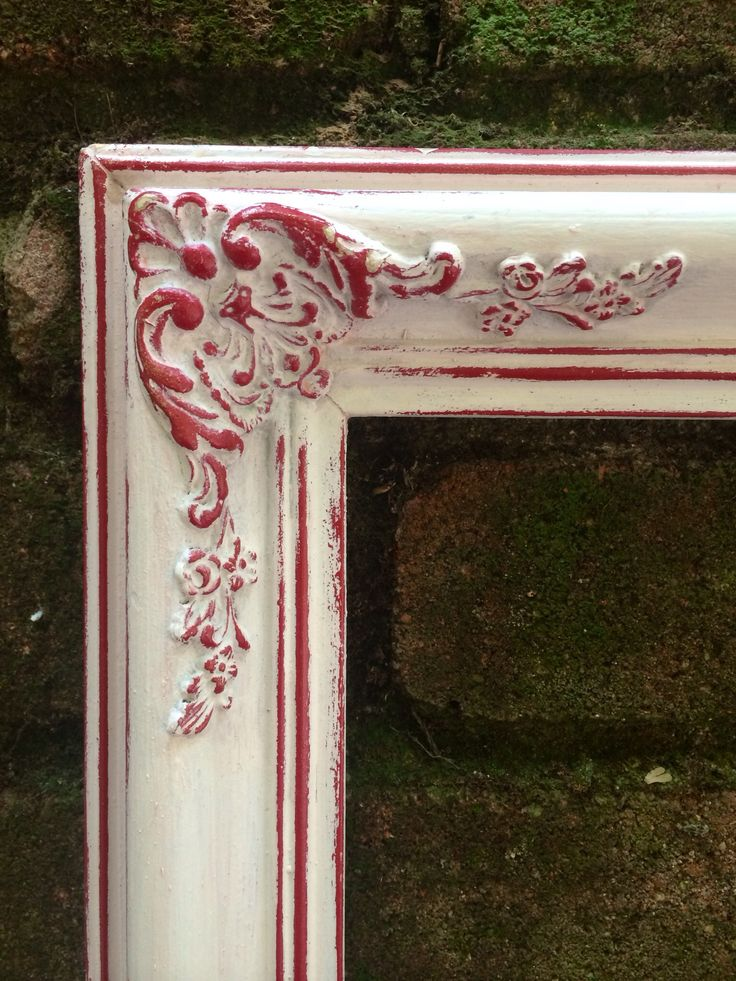 Large White Frame with Beautiful Distressed Red Details - Perfect Photo Prop for Holiday and Christmas Pictures