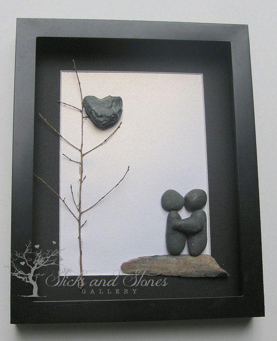 Unique COUPLE Gift  Original COUPLE'S Christmas by SticksnStone, $80.00