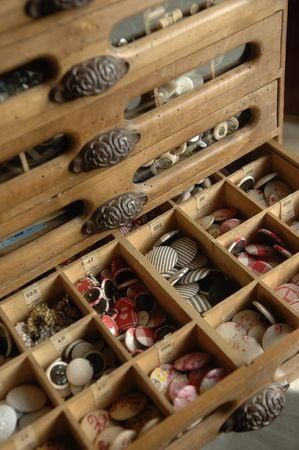 ❥ antique cabinet for buttons~ love the drawer pulls