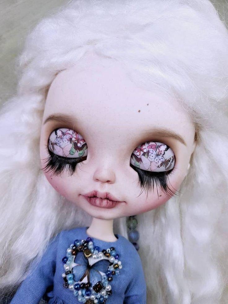 Custom listing for Marcella – TBL custom Blythe doll with mohair white hair and shiny eyes