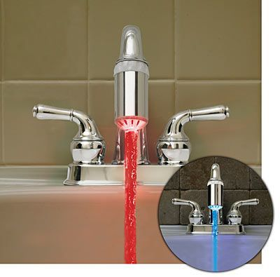 Kinda fun...for a kids bathroom!  Light makes water blue when cold, and water turns red when hot!!  $19.99