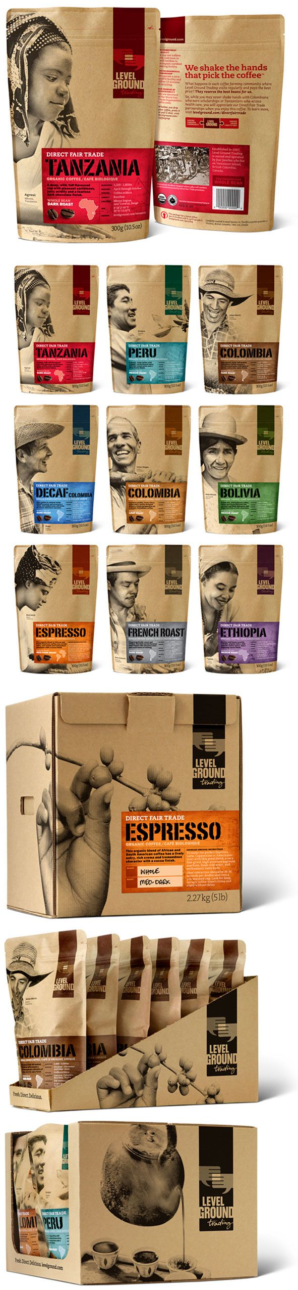 "Level Ground Trading Designed by Subplot Design | Country: Canada | Fonts: Portago (customized), Franklin Gothic, Caecilia  ""Founded in 1997, Level Ground Trading of Victoria, BC is dedicated to trading fairly and directly with small-scale producers in developing countries, and to market their products in North America, offering their customers ethical choices."